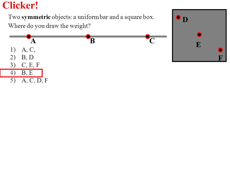 Clicker! Two symmetric objects: a uniform bar and a square box. Where do you draw the weight D. A.