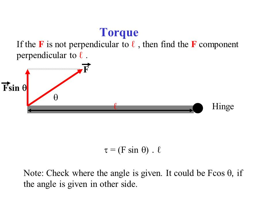 Torque If the F is not perpendicular to ℓ , then find the F component
