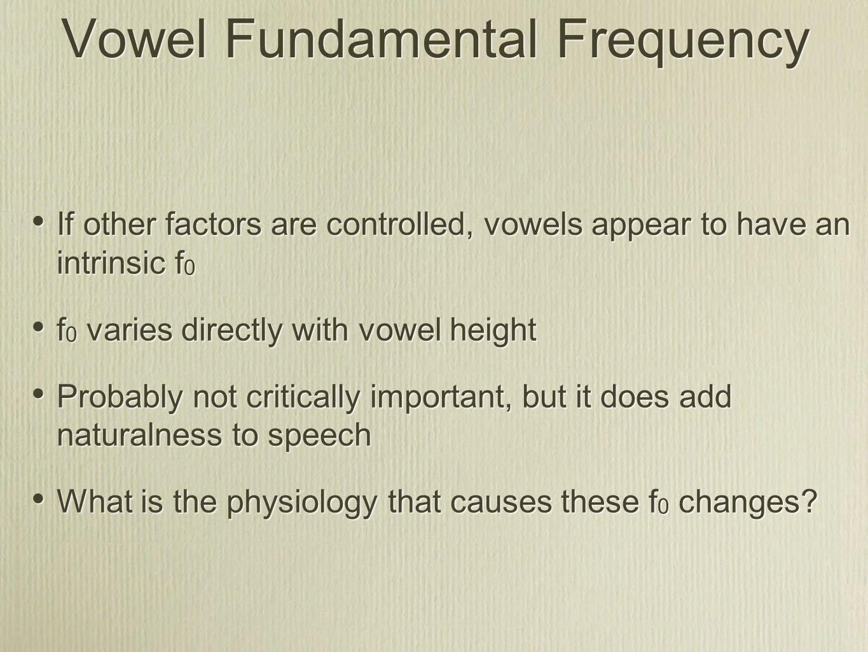 Vowel Fundamental Frequency