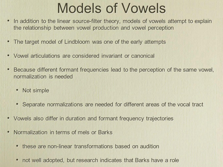 Models of Vowels
