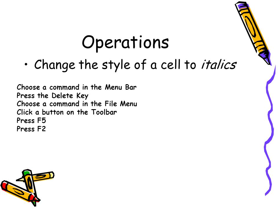 Operations Change the style of a cell to italics