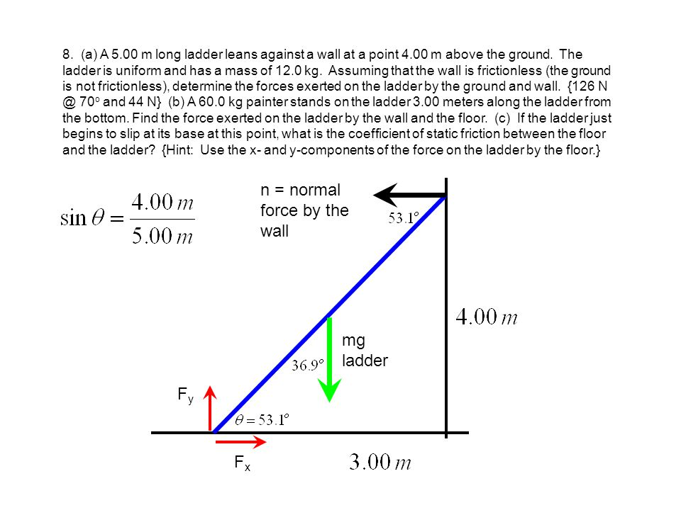 n = normal force by the wall