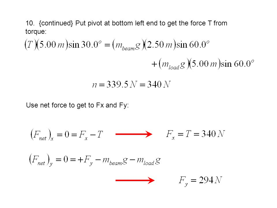 10. {continued} Put pivot at bottom left end to get the force T from torque:
