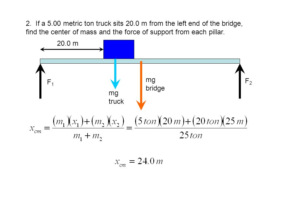 2. If a 5. 00 metric ton truck sits 20