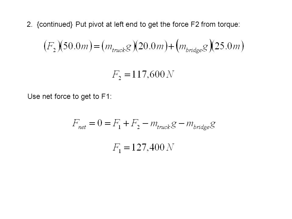 2. {continued} Put pivot at left end to get the force F2 from torque: