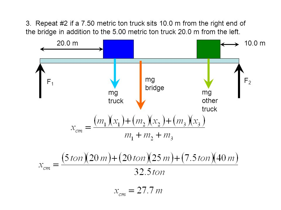 3. Repeat #2 if a 7. 50 metric ton truck sits 10