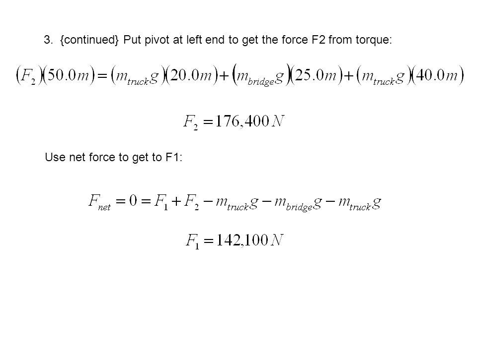 3. {continued} Put pivot at left end to get the force F2 from torque: