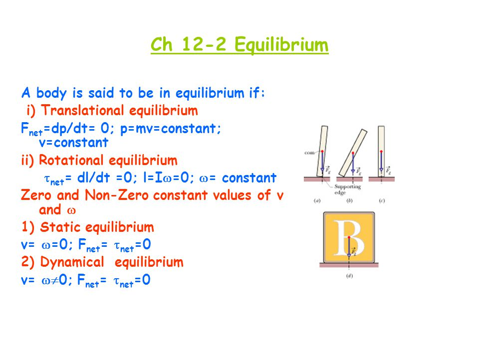 Ch 12-2 Equilibrium A body is said to be in equilibrium if: