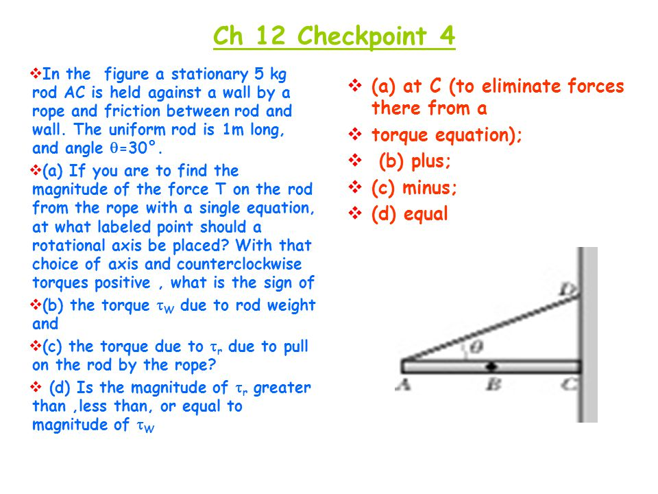 Ch 12 Checkpoint 4 (a) at C (to eliminate forces there from a
