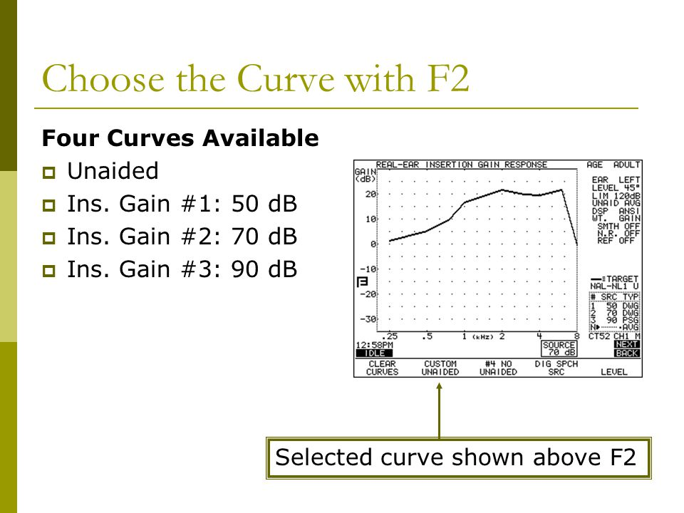Choose the Curve with F2 Four Curves Available Unaided