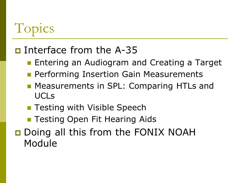 Topics Interface from the A-35