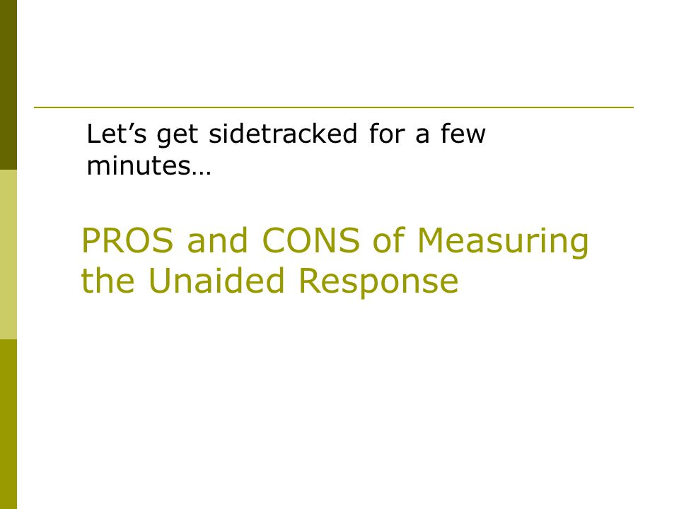 PROS and CONS of Measuring the Unaided Response