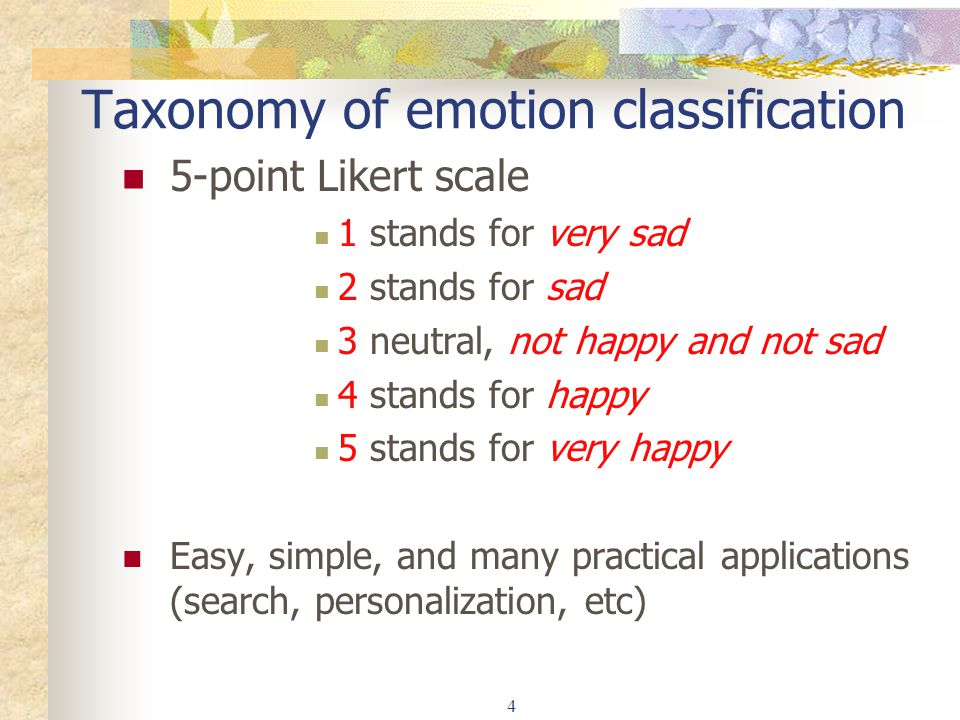Taxonomy of emotion classification