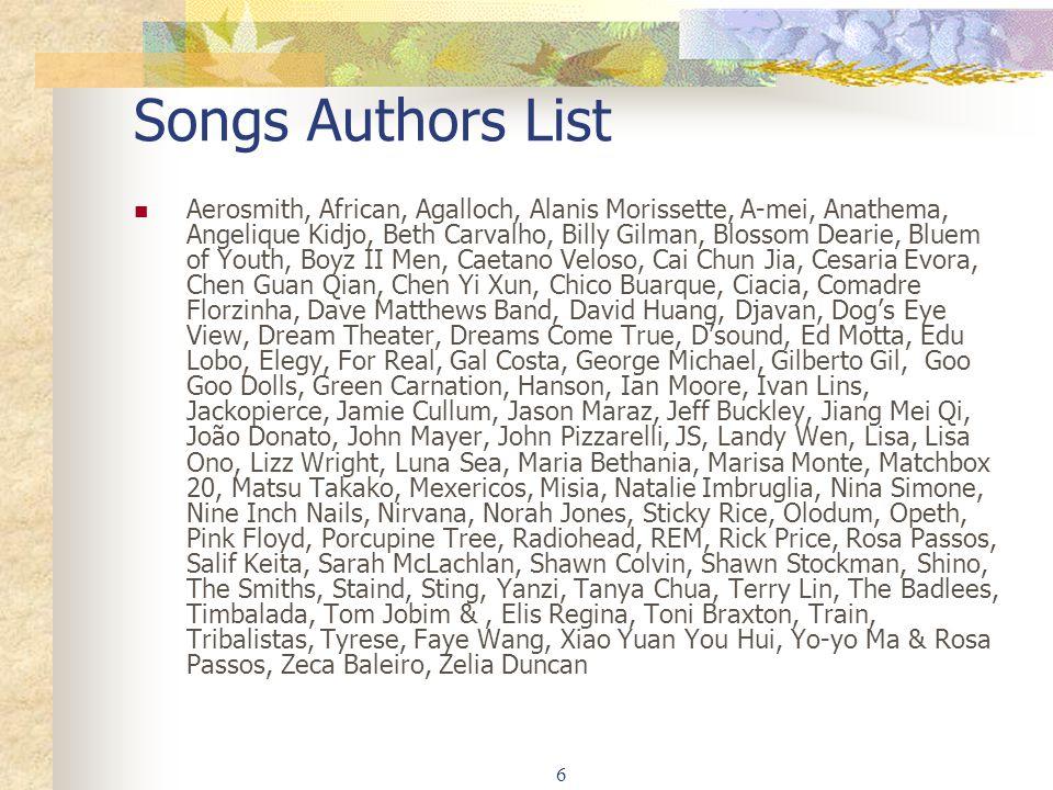 Songs Authors List