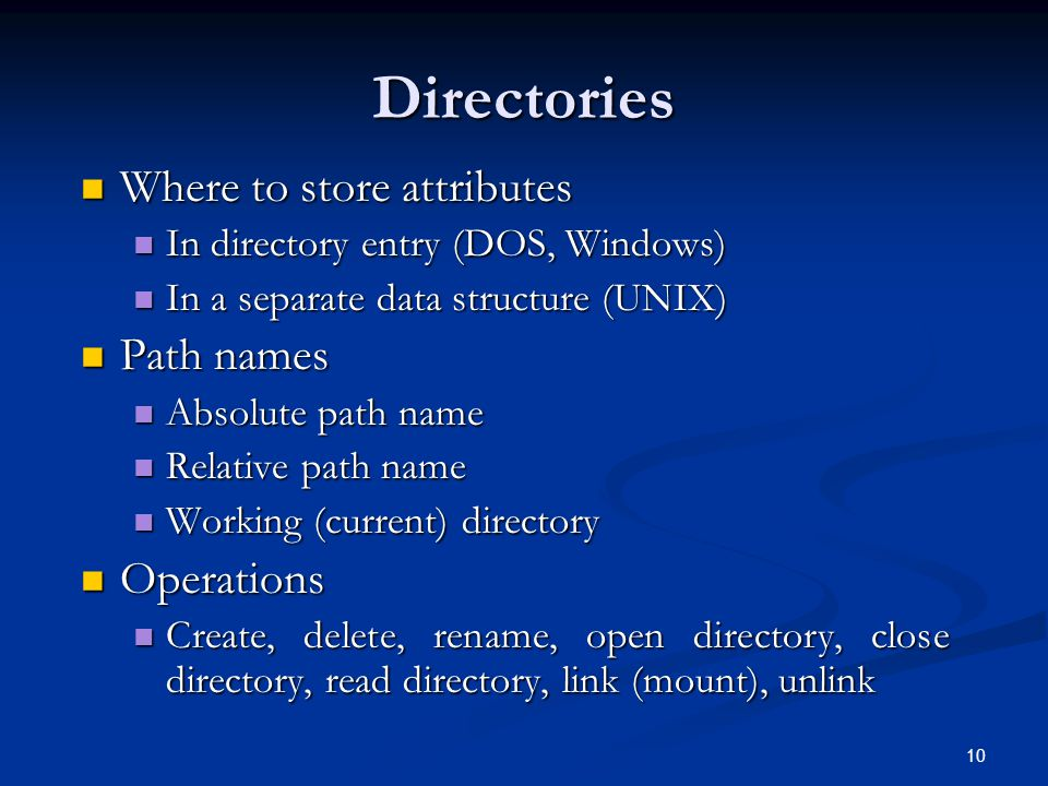 Directories Where to store attributes Path names Operations