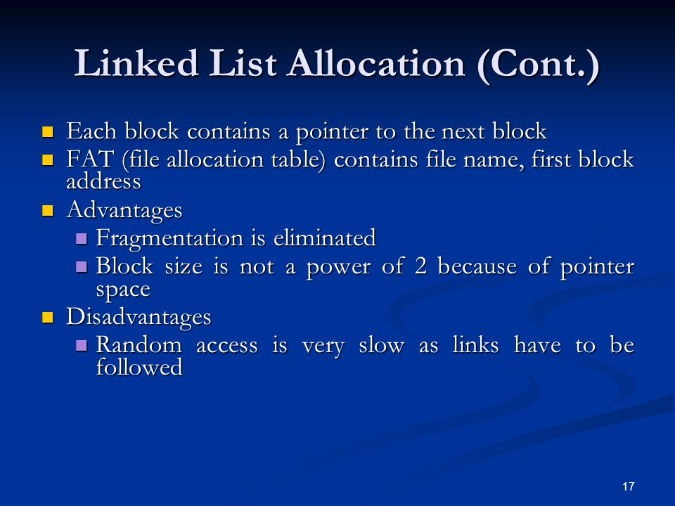 Linked List Allocation (Cont.)