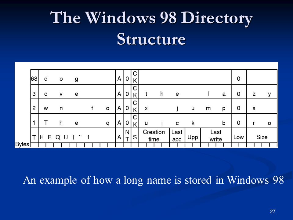 The Windows 98 Directory Structure