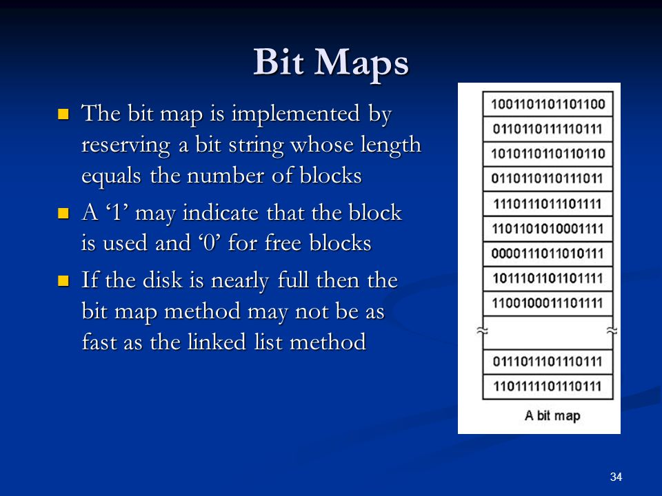 Bit Maps The bit map is implemented by reserving a bit string whose length equals the number of blocks.