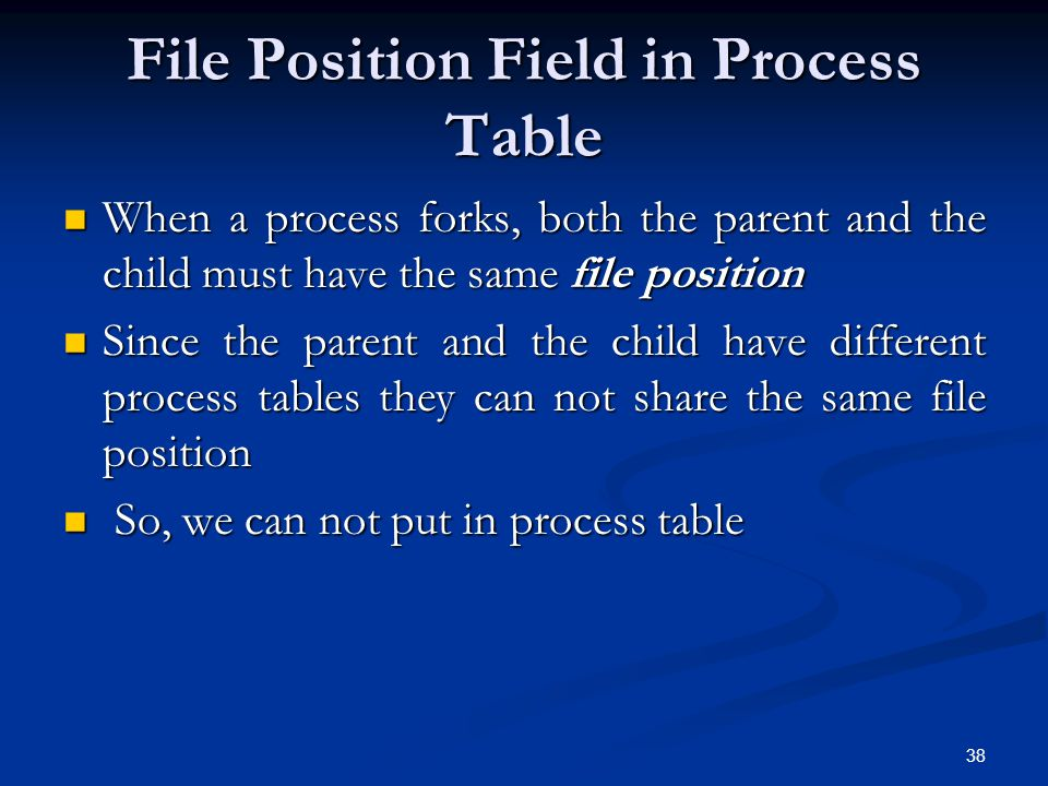 File Position Field in Process Table