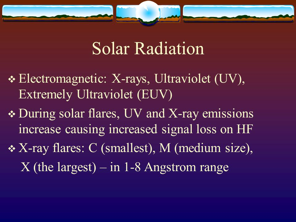 Solar Radiation Electromagnetic: X-rays, Ultraviolet (UV), Extremely Ultraviolet (EUV)