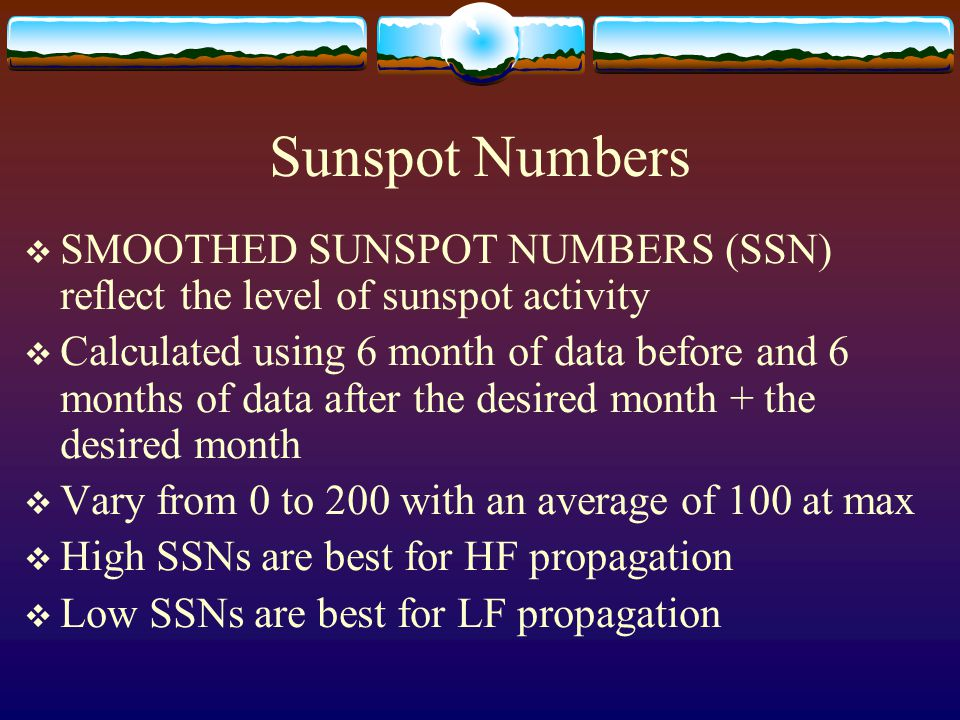 Sunspot Numbers SMOOTHED SUNSPOT NUMBERS (SSN) reflect the level of sunspot activity.