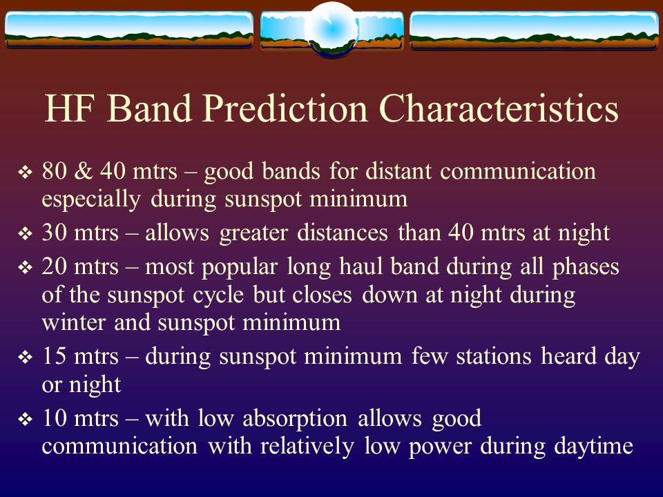 HF Band Prediction Characteristics
