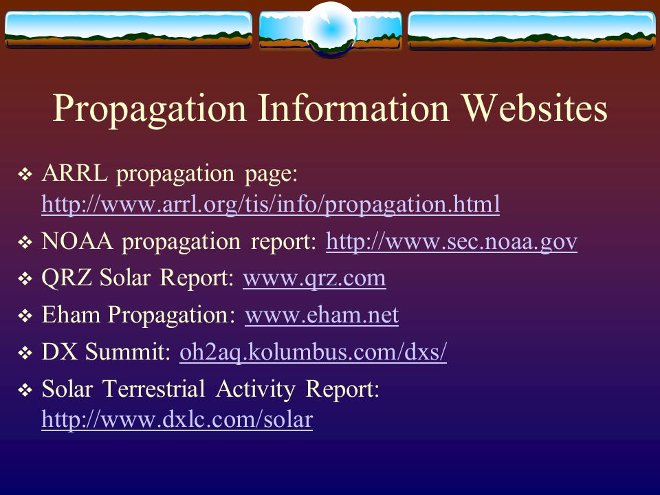 Propagation Information Websites