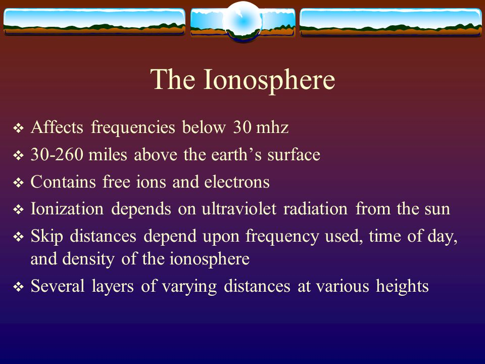The Ionosphere Affects frequencies below 30 mhz