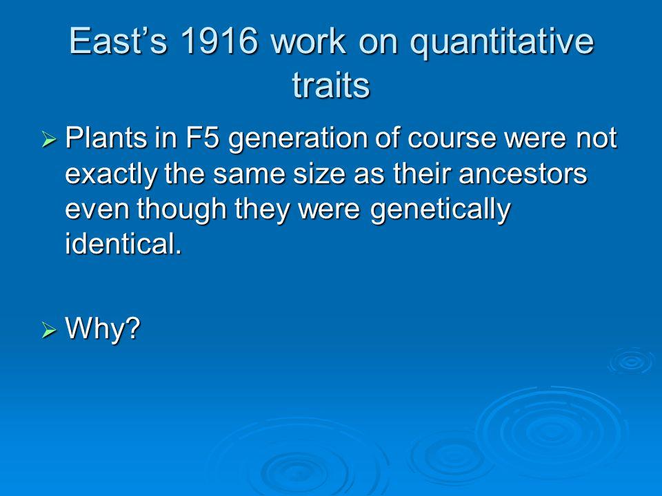 East's 1916 work on quantitative traits