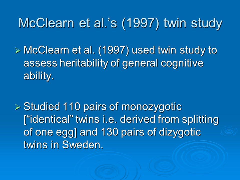 McClearn et al.'s (1997) twin study