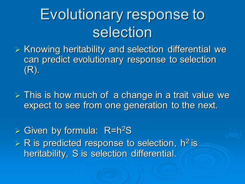 Evolutionary response to selection