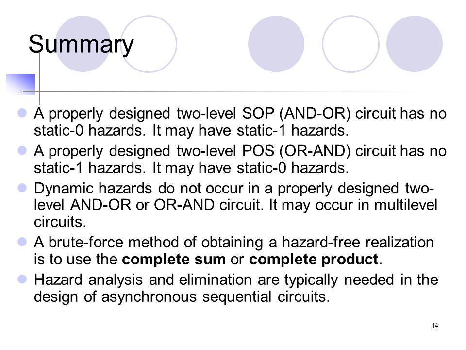 Summary A properly designed two-level SOP (AND-OR) circuit has no static-0 hazards. It may have static-1 hazards.