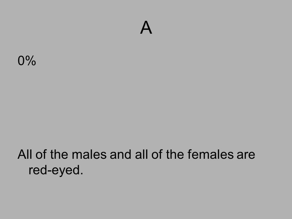 A 0% All of the males and all of the females are red-eyed.