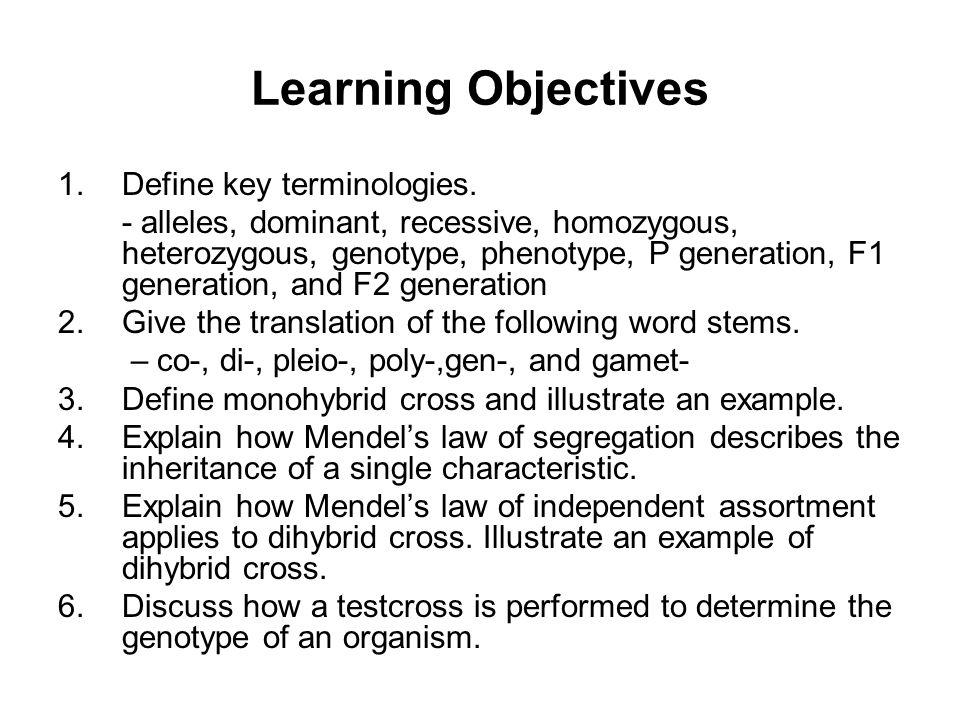 Learning Objectives Define key terminologies.