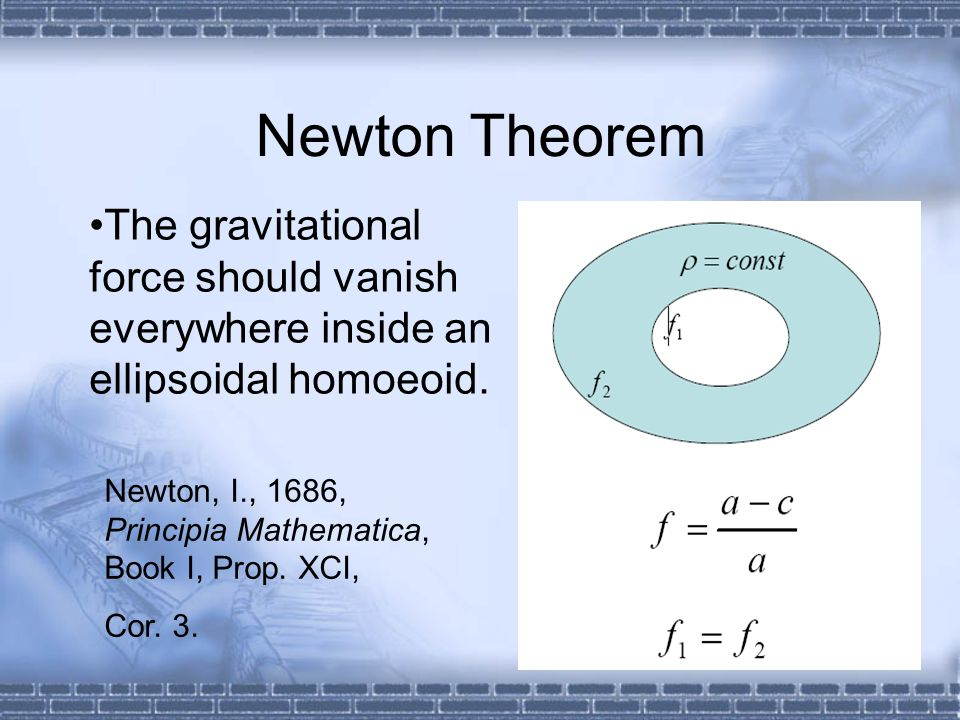 Newton Theorem •The gravitational force should vanish everywhere inside an ellipsoidal homoeoid.