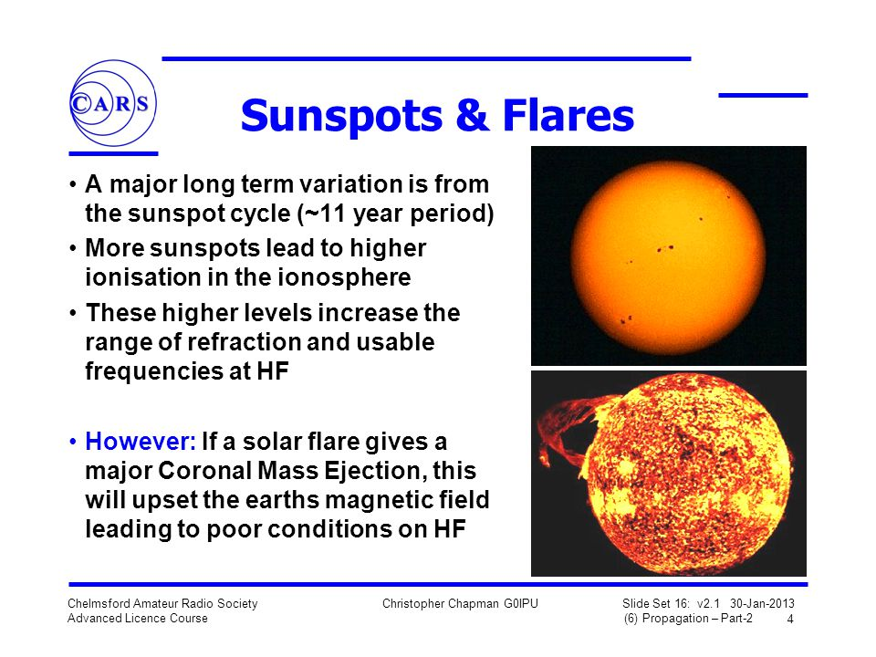 Sunspots & Flares A major long term variation is from the sunspot cycle (~11 year period) More sunspots lead to higher ionisation in the ionosphere.