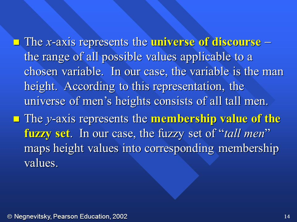 The x-axis represents the universe of discourse  the range of all possible values applicable to a chosen variable. In our case, the variable is the man height. According to this representation, the universe of men's heights consists of all tall men.