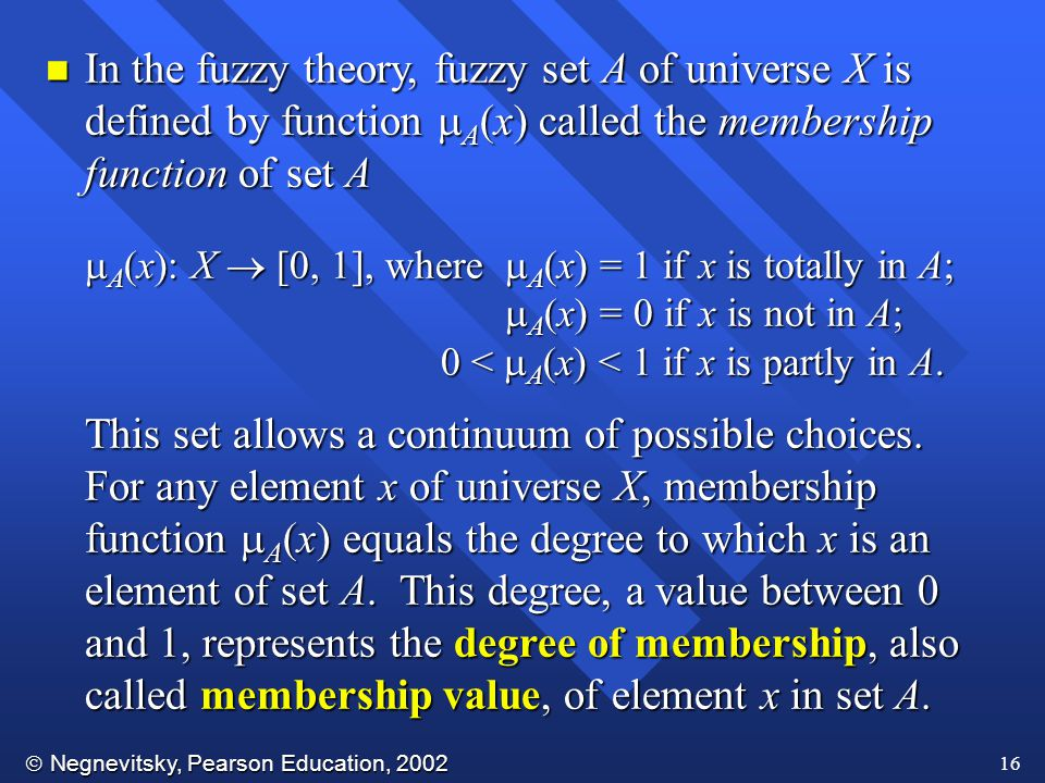 In the fuzzy theory, fuzzy set A of universe X is defined by function A(x) called the membership function of set A