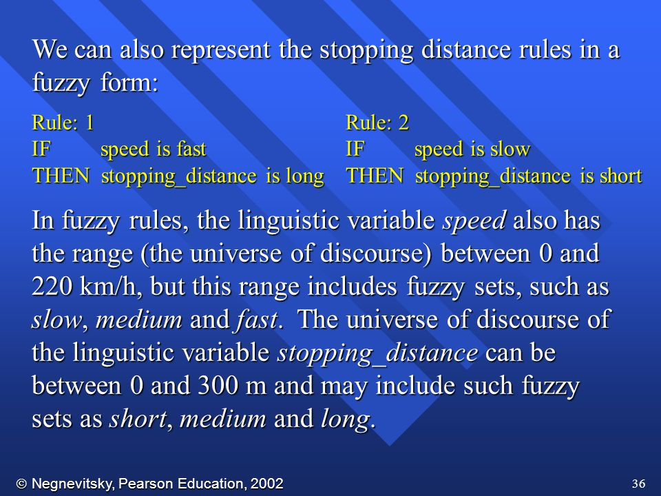 We can also represent the stopping distance rules in a fuzzy form: