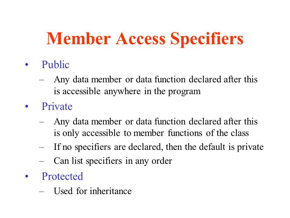 Member Access Specifiers