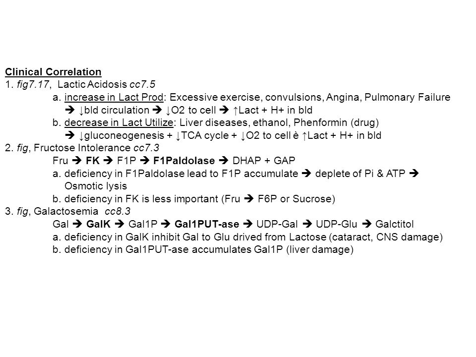 Clinical Correlation 1. fig7.17, Lactic Acidosis cc7.5. a. increase in Lact Prod: Excessive exercise, convulsions, Angina, Pulmonary Failure.