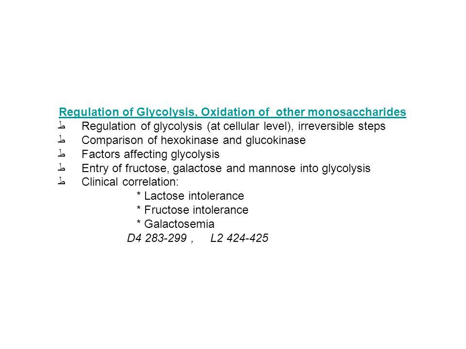 Regulation of Glycolysis, Oxidation of other monosaccharides