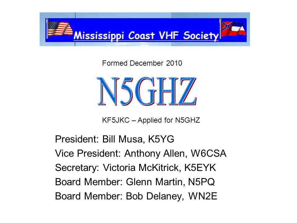 N5GHZ President: Bill Musa, K5YG Vice President: Anthony Allen, W6CSA