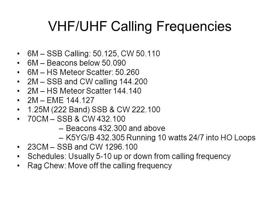 VHF/UHF Calling Frequencies