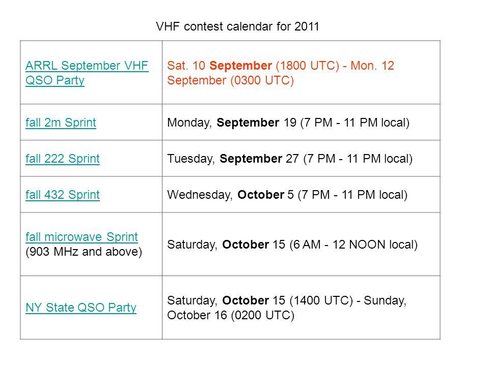 VHF contest calendar for 2011