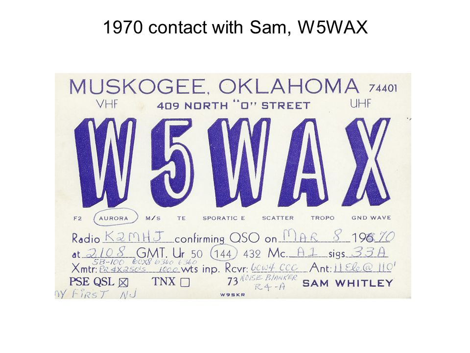 1970 contact with Sam, W5WAX