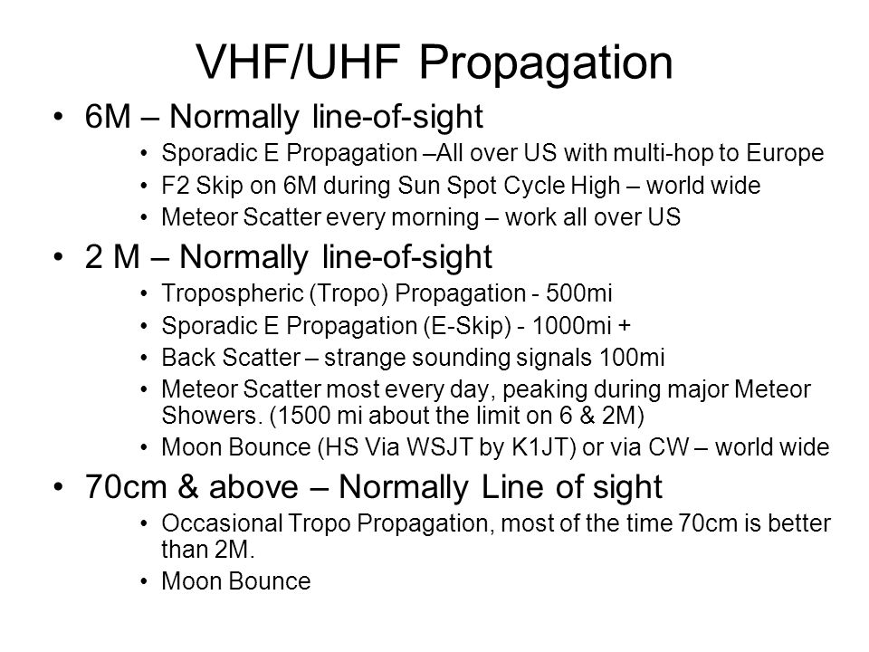 VHF/UHF Propagation 6M – Normally line-of-sight