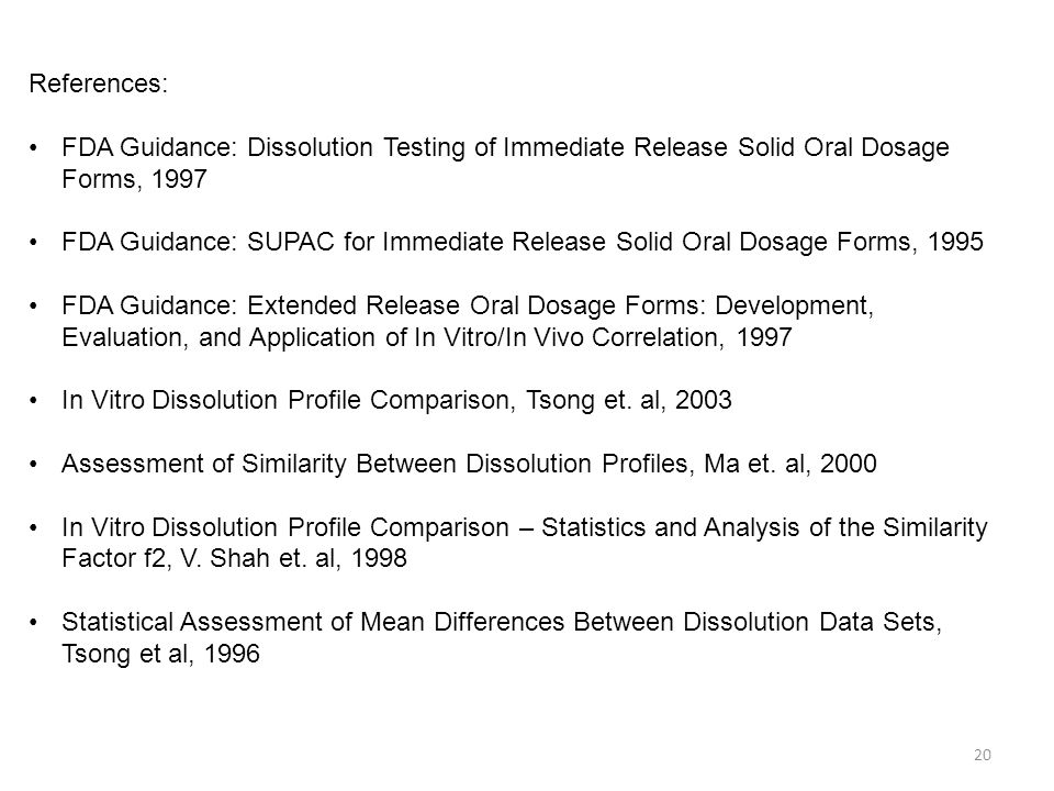 References: FDA Guidance: Dissolution Testing of Immediate Release Solid Oral Dosage Forms, 1997.