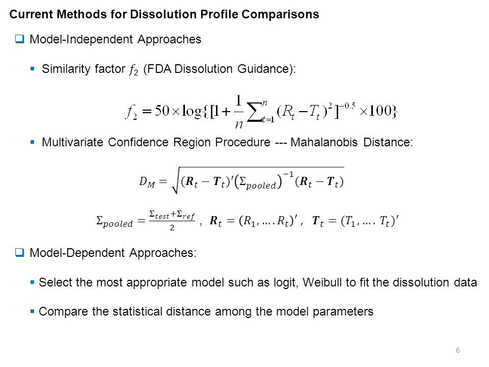 Current Methods for Dissolution Profile Comparisons