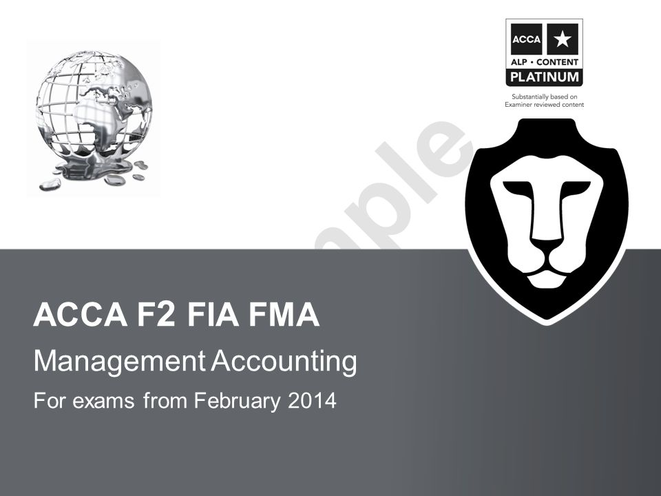 Management Accounting For exams from February 2014